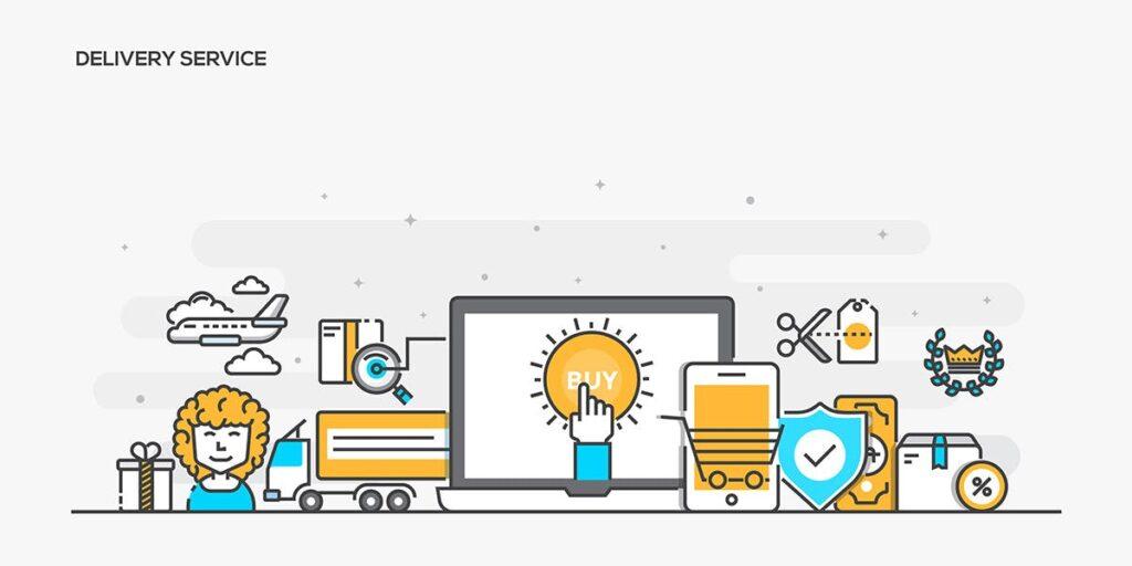 金融类企业数据描边风场景插画设计Set of Flat Line Color Banners Buwzlx插图(4)