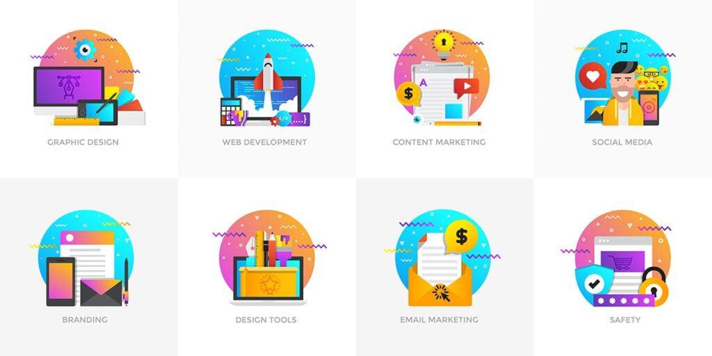 商业活动数据演示主题插画素材Set of Modern Flat Multi Color Conceptual icons插图(3)