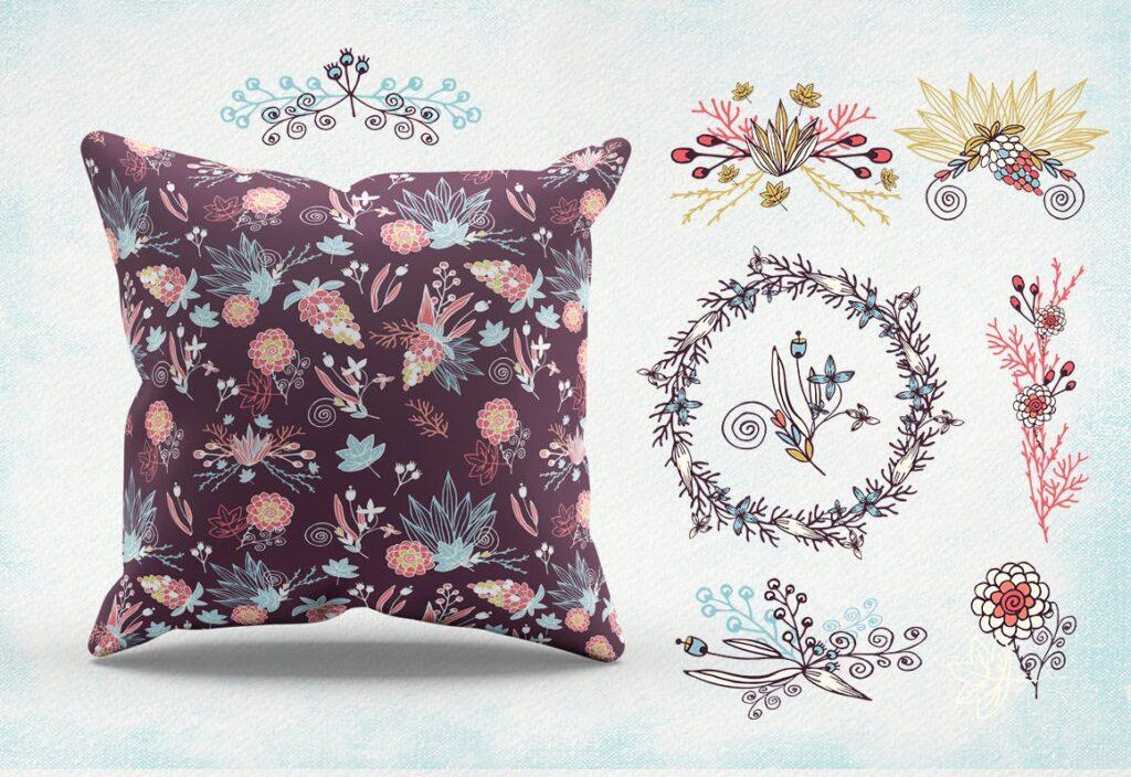 品牌墙纸花卉装饰图案花纹抱枕装饰图案Simply Flowers插图(3)