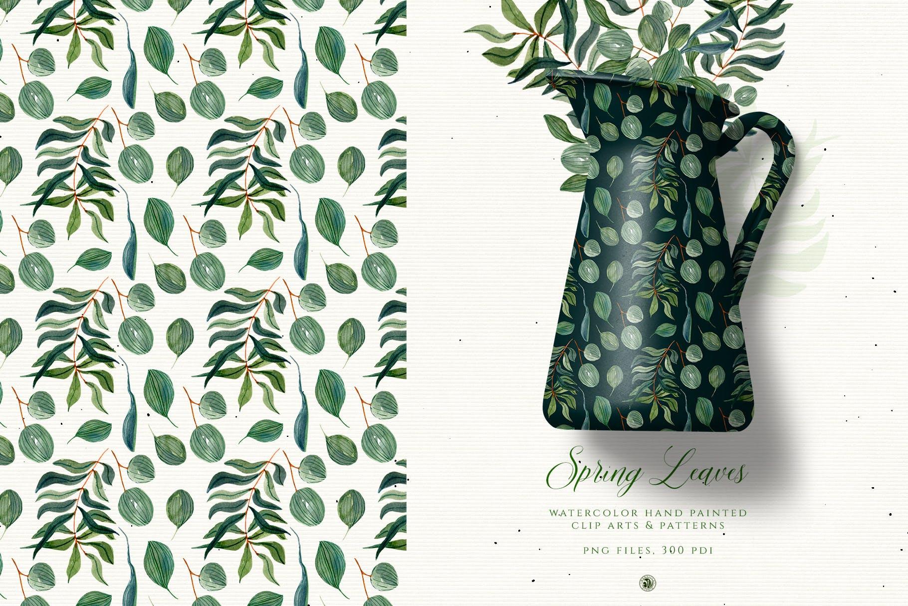 春叶手绘花卉水彩艺术矢量图案素材下载Spring Leaves插图(3)