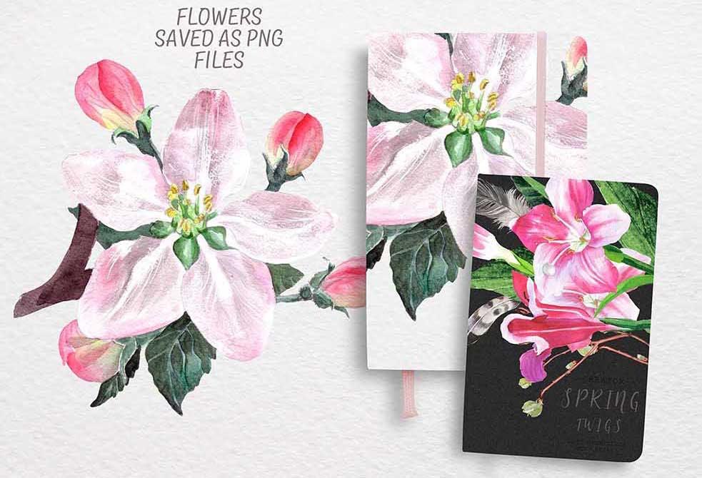 手绘水彩花环装饰图案纹理下载Spring bloom set 80 PNG插图(3)