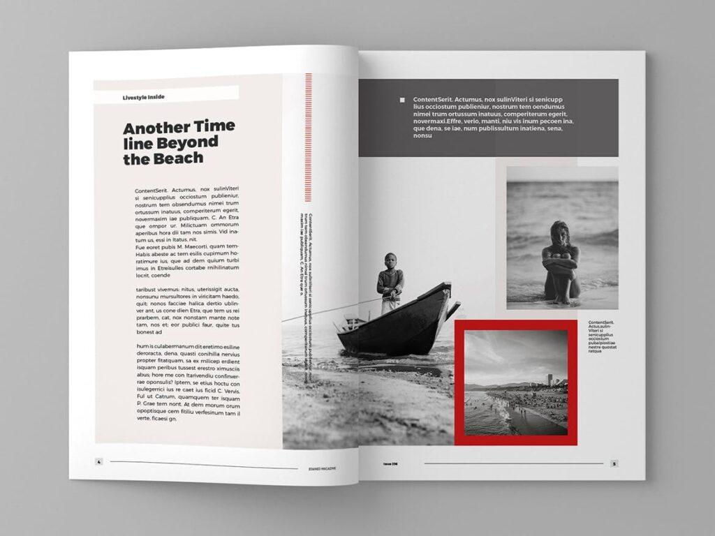 年代历史回忆录主题杂志模板素材Stained Magazine Template插图(1)