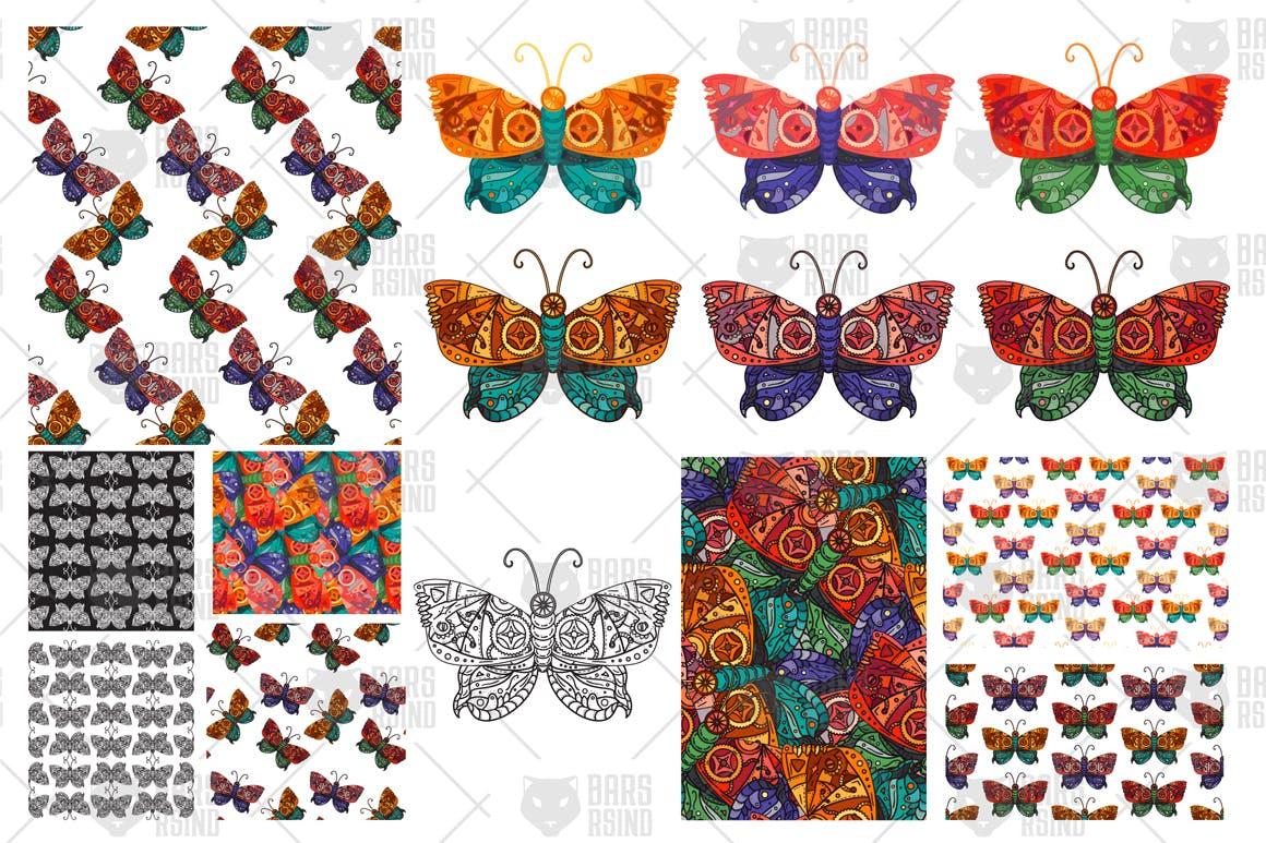 蝴蝶图案矢量素材插图Steampunk Butterfly Patterns Set插图(2)