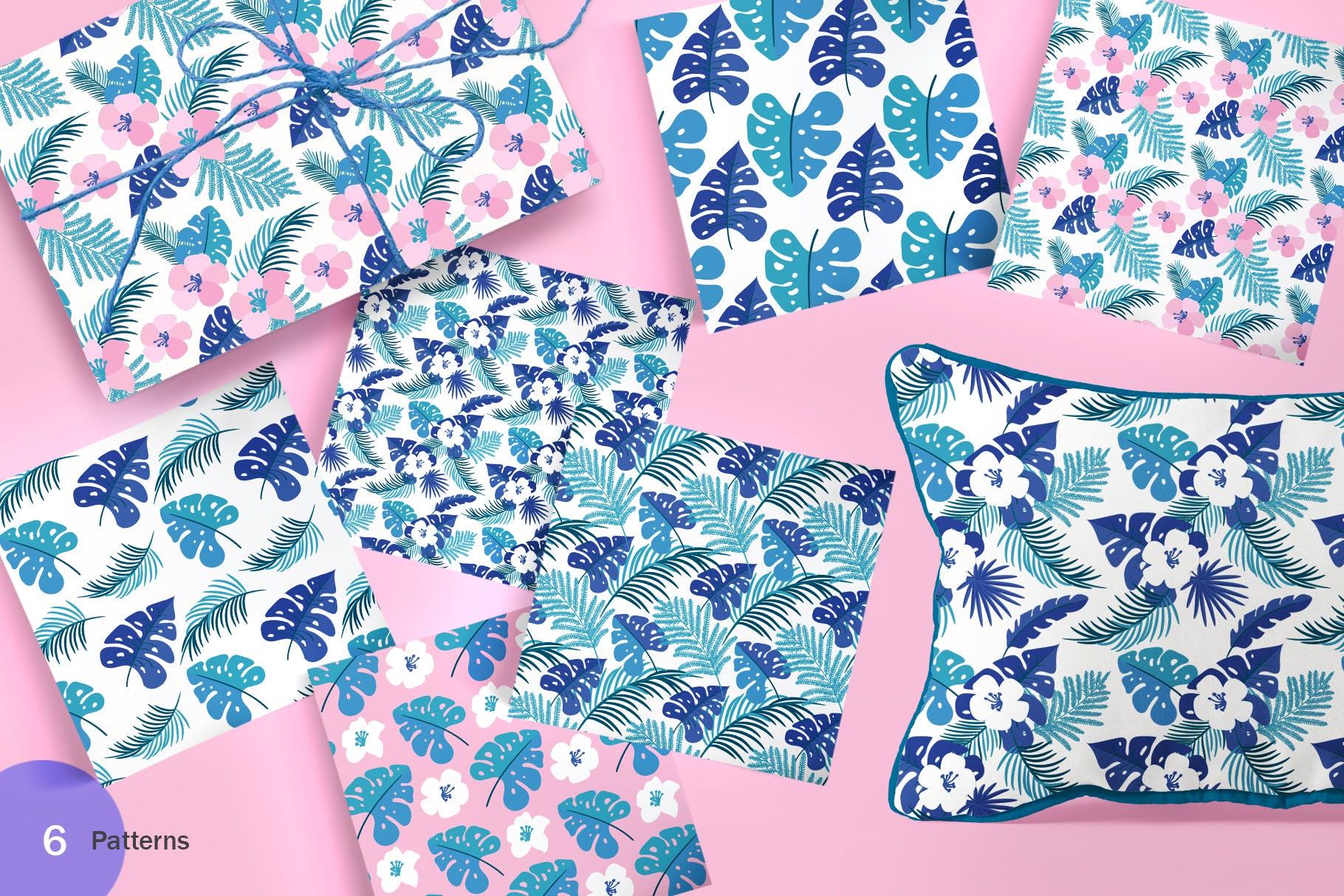 6个夏季无缝矢量图案素材图案纹理Summer Exotic Palm Design Elements SVG插图(3)