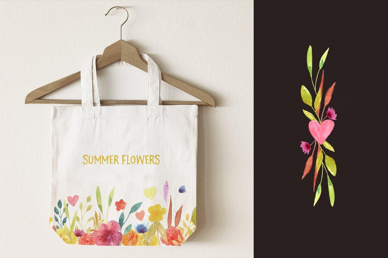 夏日鲜花水彩画元素装饰图案元素Summer Flowers插图(3)