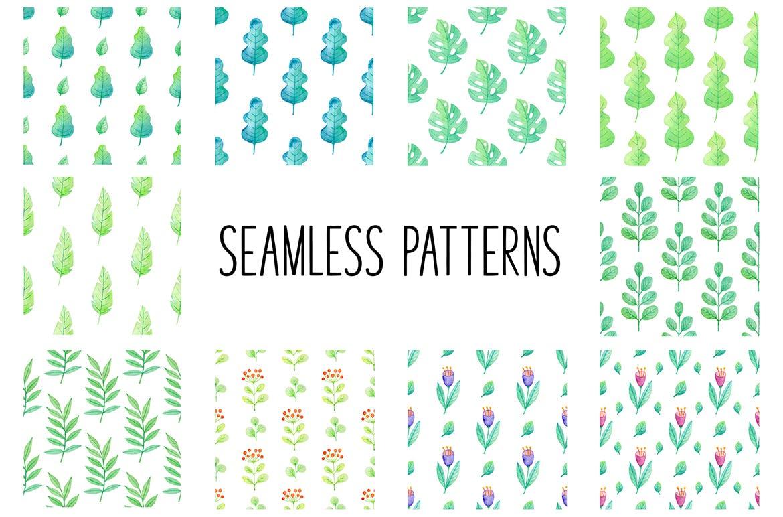 手绘水彩花卉图形元素装饰图案纹理花纹素材Summer Garden Watercolor Design Kit插图(3)