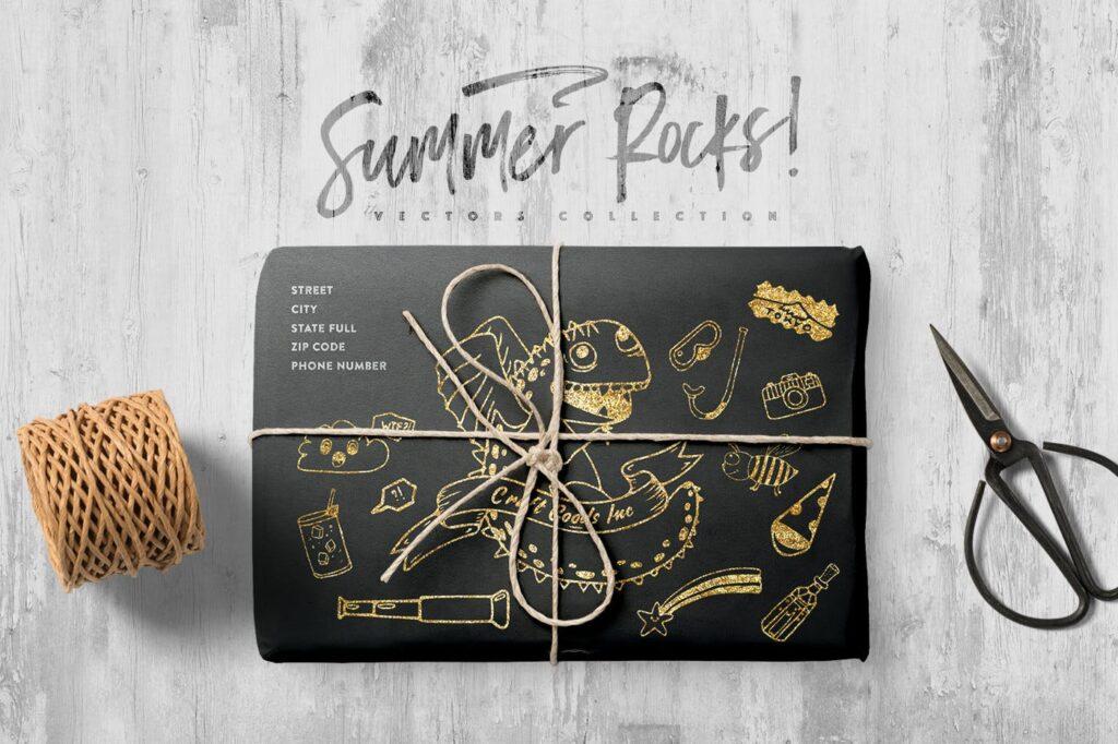 夏季主题元素装饰图案纹理下载Summer Rocks! Vectors Collection插图(3)