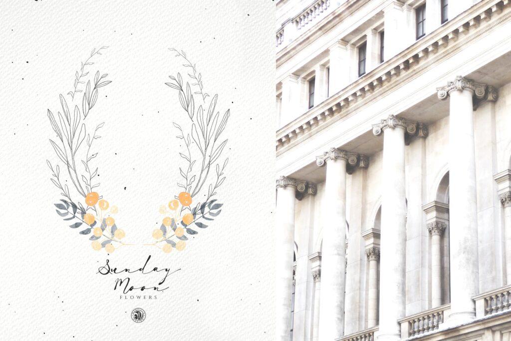 浪漫花卉水彩画婚礼邀请函装饰图案花纹Sunday Moon Flowers插图(3)