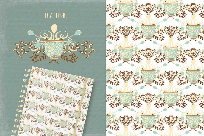 茶品类包装辅助图形图案元素图案/纹理装饰元素下载Tea Time插图(3)