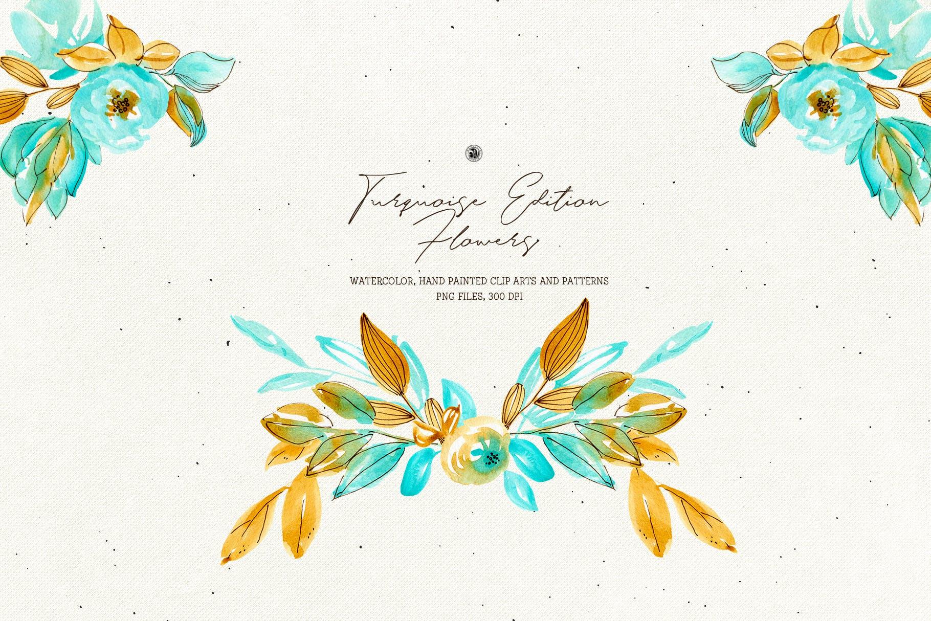 绿松石版水彩花/手绘水彩画/剪贴艺术图案Turquoise Edition Flowers插图(3)