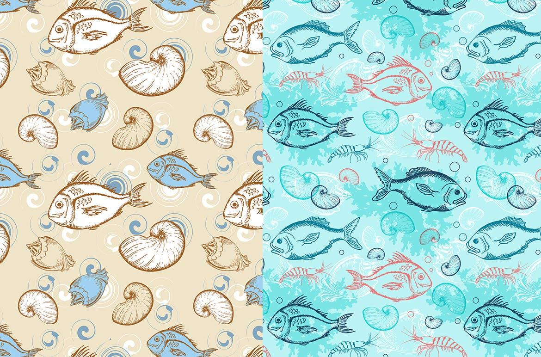 海洋生物元素矢量复古风手绘装饰图案Under the Sea Seamless Patterns插图(3)