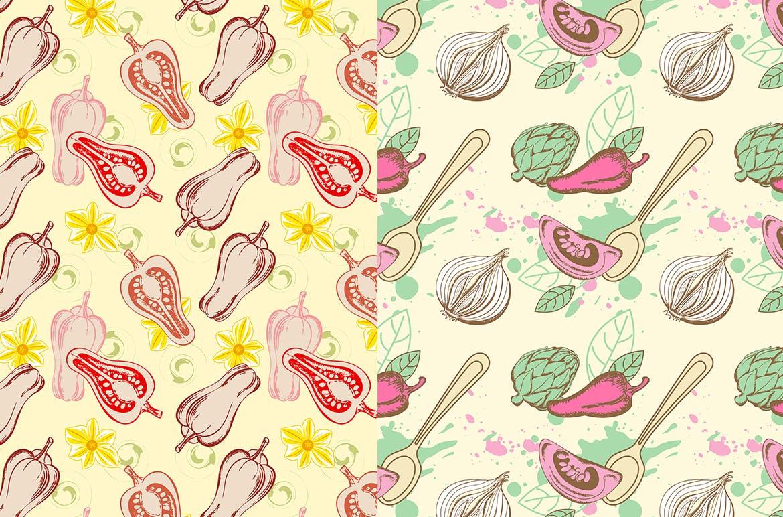 蔬菜类复古风手绘图案装饰怨言Vegetable Seamless Patterns插图(3)