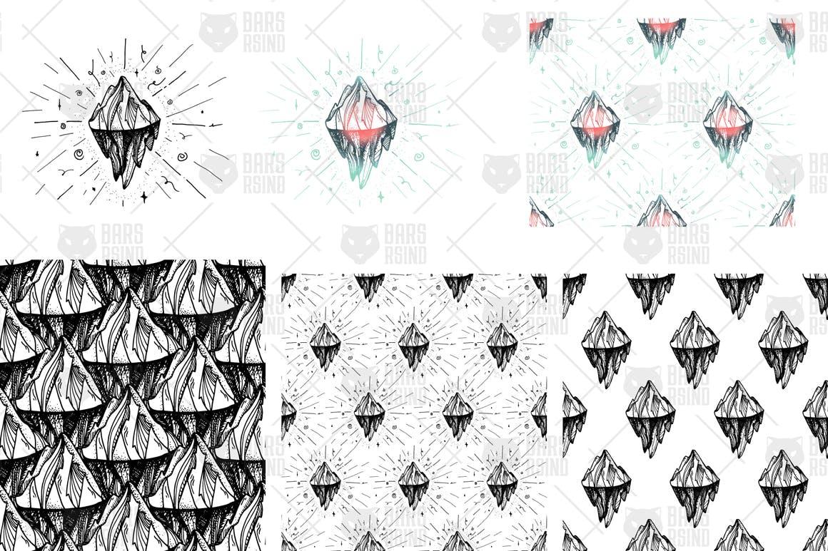 2幅冰山和山峰的插图布艺用品装饰图案矢量素材下载Vintage Mountain Print Patterns插图(3)