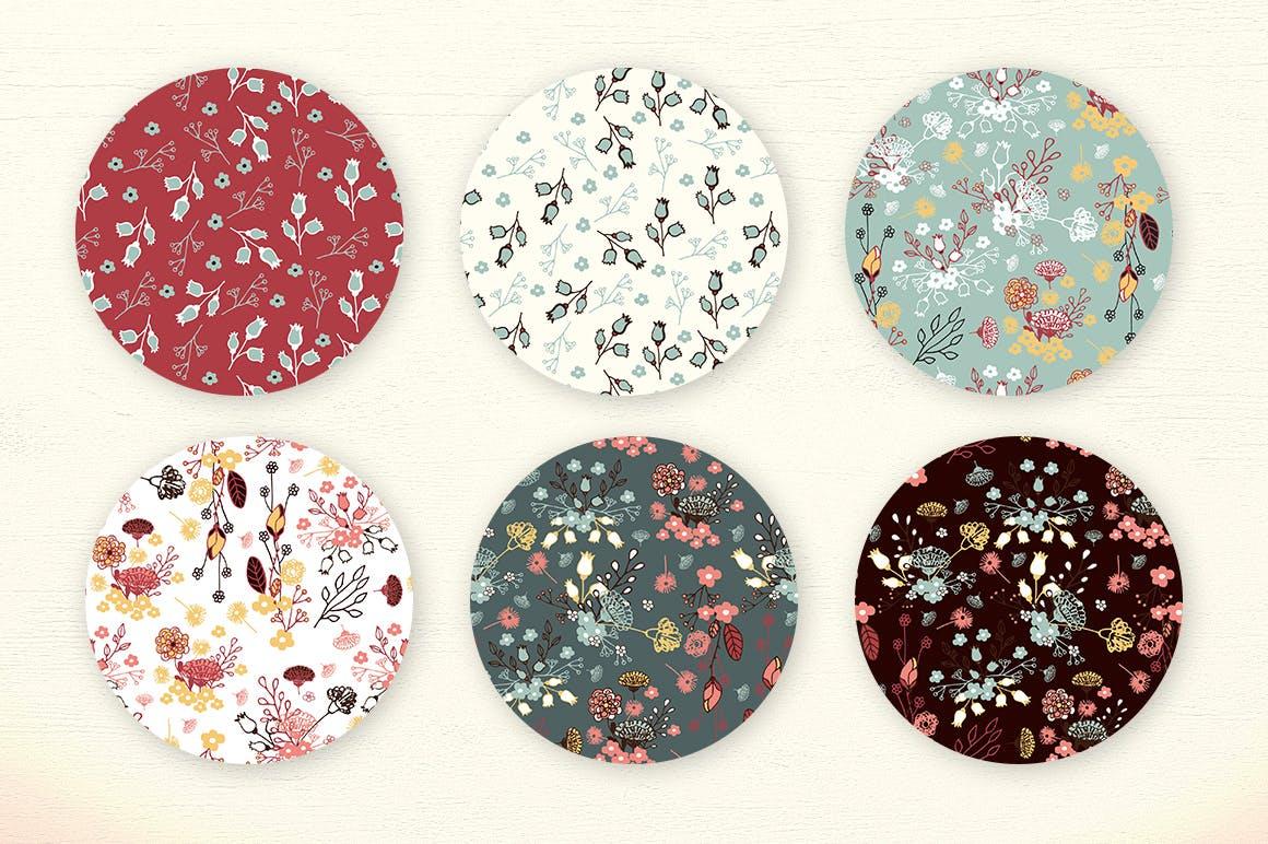 服装文艺印刷用品花纹素材模板下载Washed Colors Flowers插图(3)
