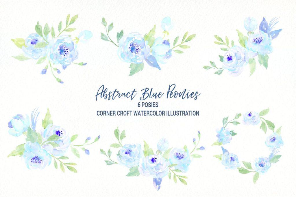 蓝色牡丹水彩图案纹理图案下载Watercolor Blue Peony Collection插图(3)