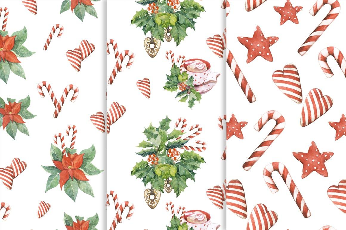 松果/松枝/鹿角森林系列手绘图案纹理元素下载Watercolor Christmas Magic Patterns插图(3)