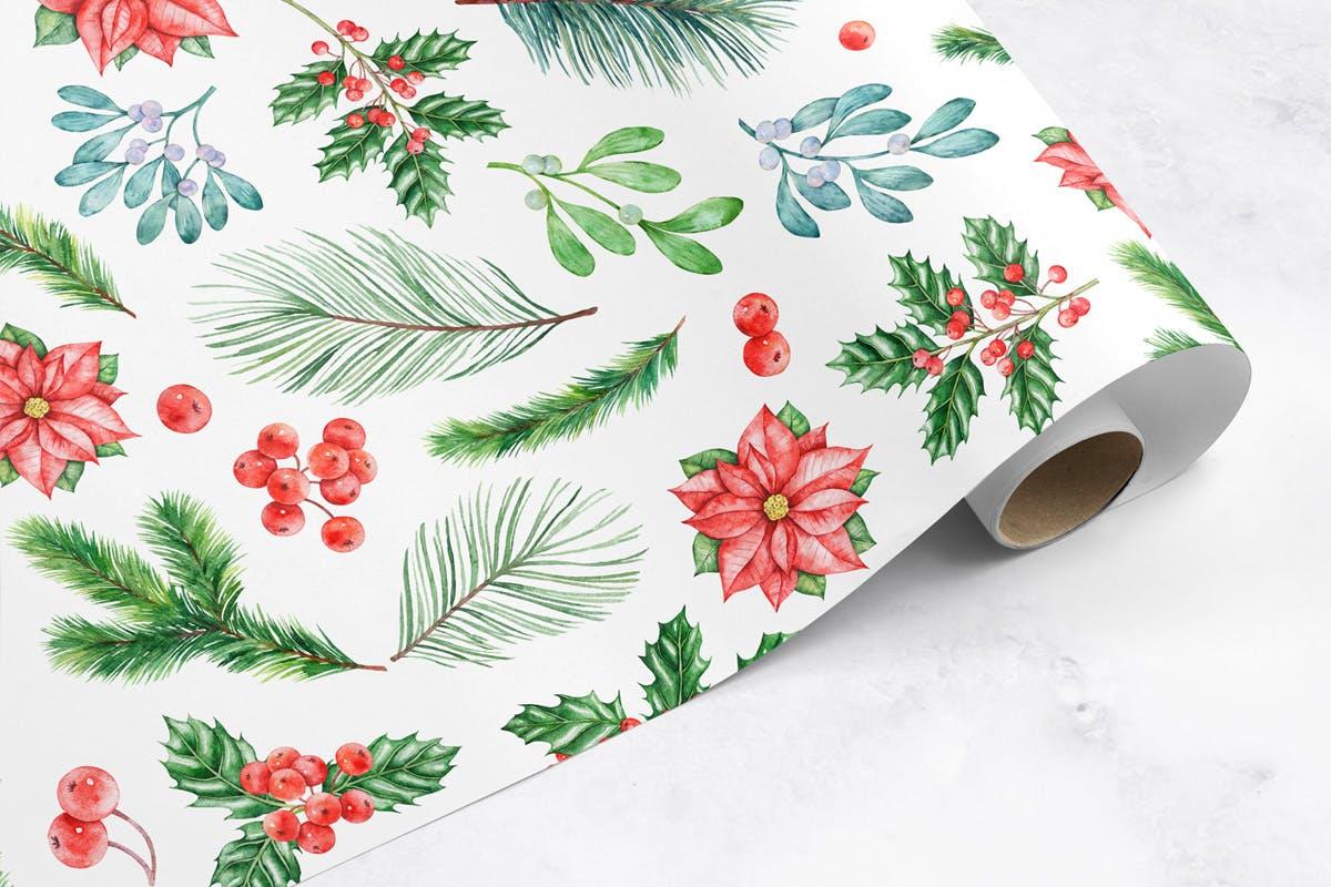 华丽水彩圣诞新年插图装饰图案下载Watercolor Christmas Patterns插图(2)
