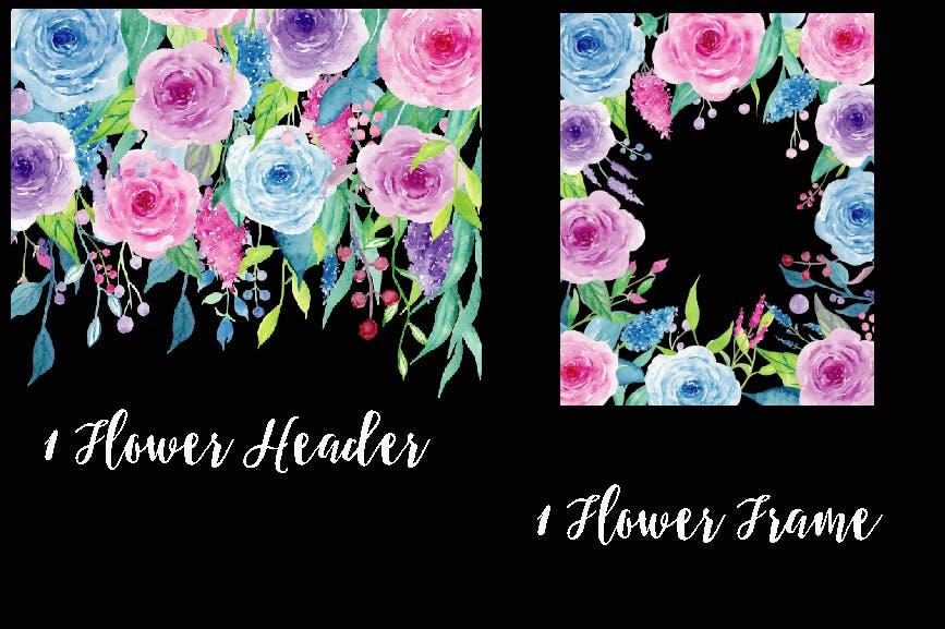 水彩紫罗兰系列主题装饰图案Watercolor Clipart Violet Collection插图(3)