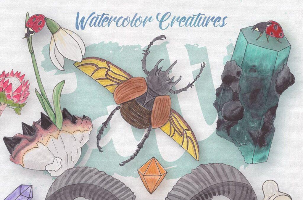 大自然生物创意图案手绘水彩装饰元素下载Watercolor Creatures vol. 1插图(3)