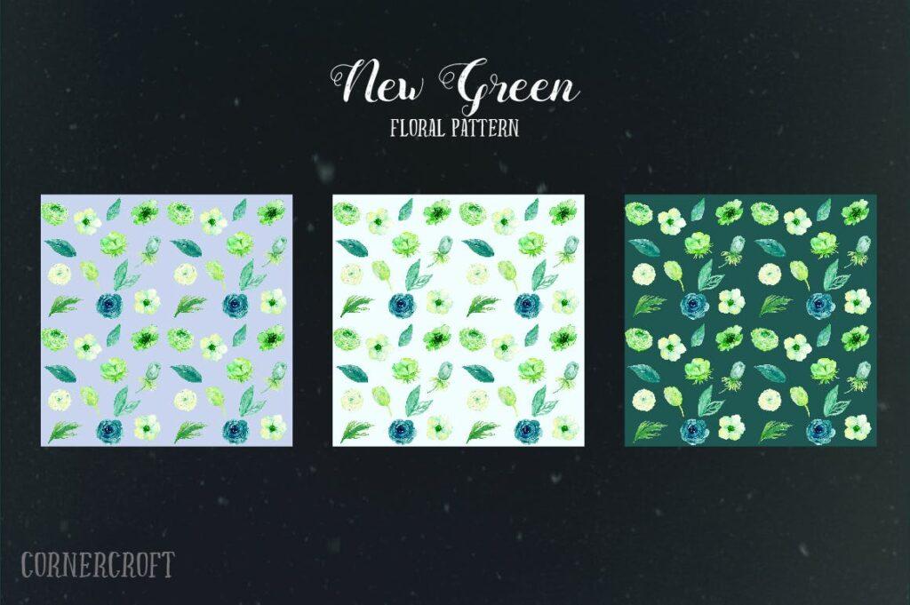 手绘水彩设计工具包全新企业品牌装饰图案花纹Watercolor Design Kit New Green插图(3)