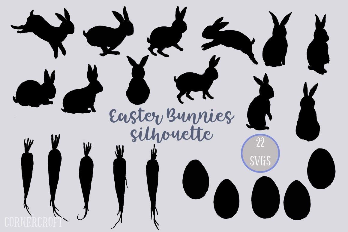 手绘水彩画复活节元素兔子水彩装饰图案Watercolor Easter Bunnies Design Kit插图(3)