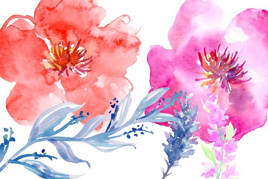水彩花卉水彩剪纸紫色和橙色Watercolor Flower Collection Sophisticated插图(3)