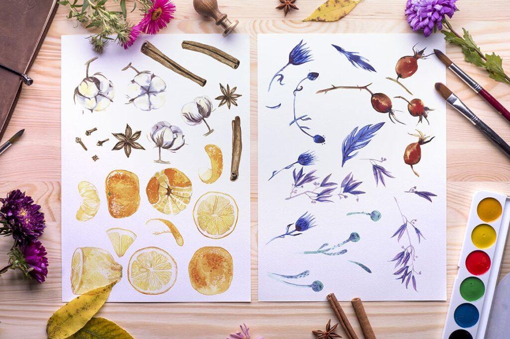 水彩花卉装饰版画装饰图案元素Watercolor Flowers Pack插图(3)