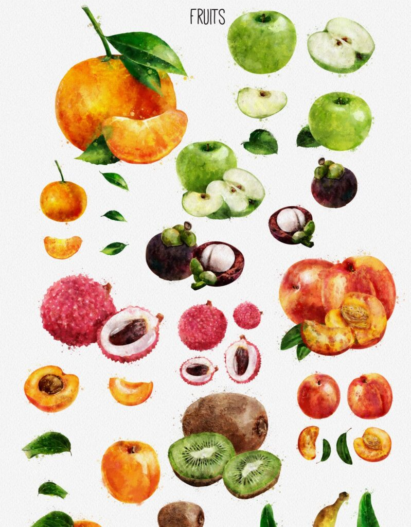 水果蔬菜系列主题水彩装饰图案下载Watercolor Fruits And Vegetables插图(3)