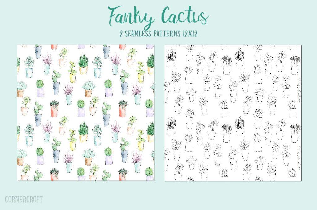水彩手绘仙人掌多角度图案布艺手提袋装饰图案Watercolor Funky Cactus Vector插图(3)