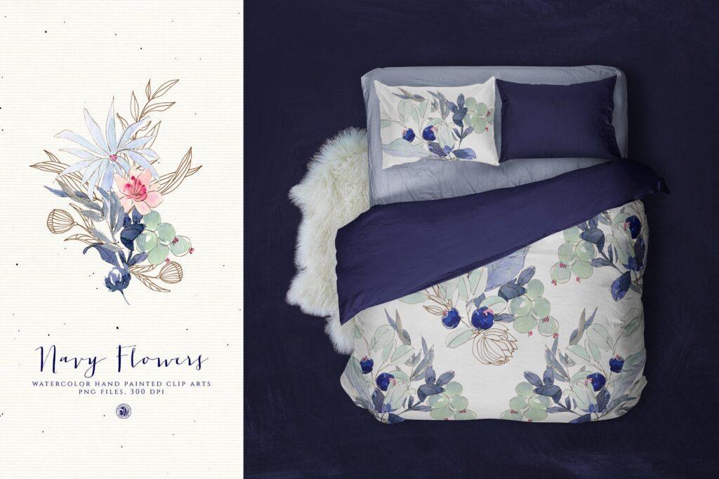 海军水彩手绘画花卉剪贴画装饰图案Watercolor Navy Flowers插图(3)