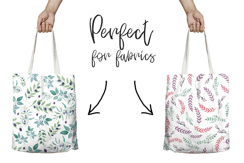 12种无缝的水彩图案/背景/纹理Watercolor Seamless Patterns Flowers and stripes插图(3)