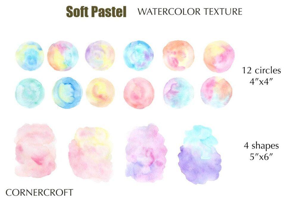 水彩笔触渐变纹理材质装饰Watercolor Texture Soft Pastel插图(3)