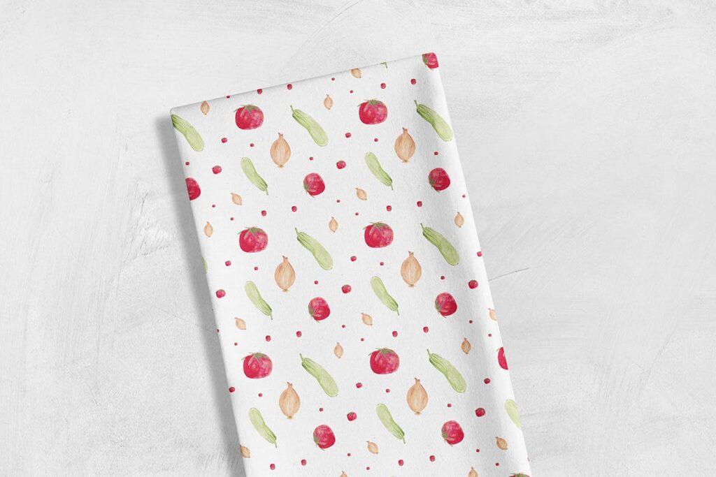 手绘水彩蔬菜组合装饰图案餐饮品牌VI装饰图案Watercolor Veggie Patterns插图(3)