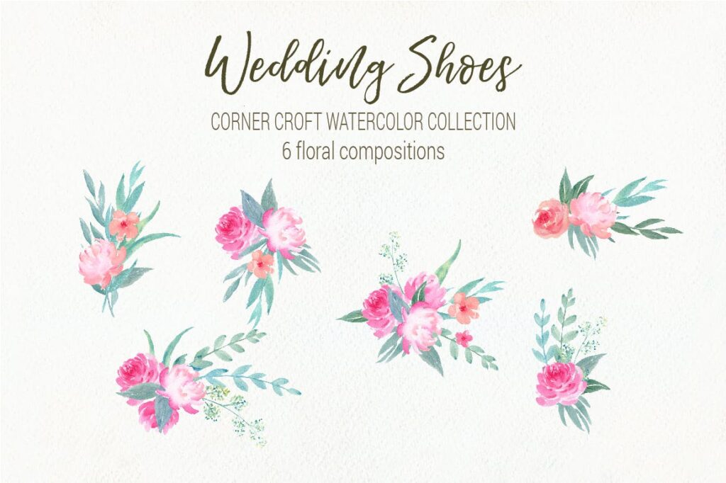 水彩婚纱鞋系列/婚纱鞋剪贴画装饰图案Watercolor Wedding Shoes Collection插图(3)