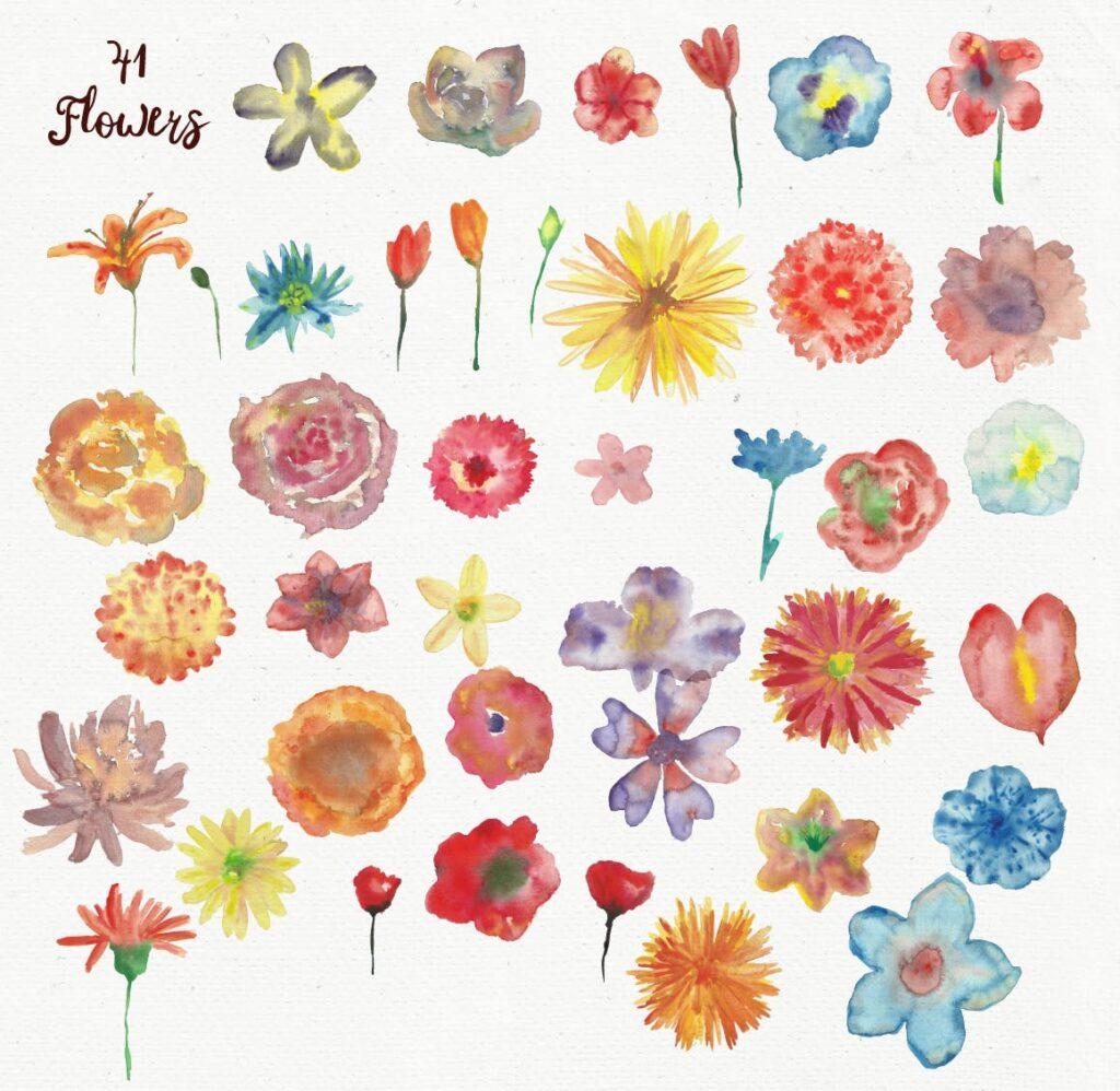 水彩花朵树叶和花环主题元素装饰图案Watercolor Wreathes and Bouquets插图(3)