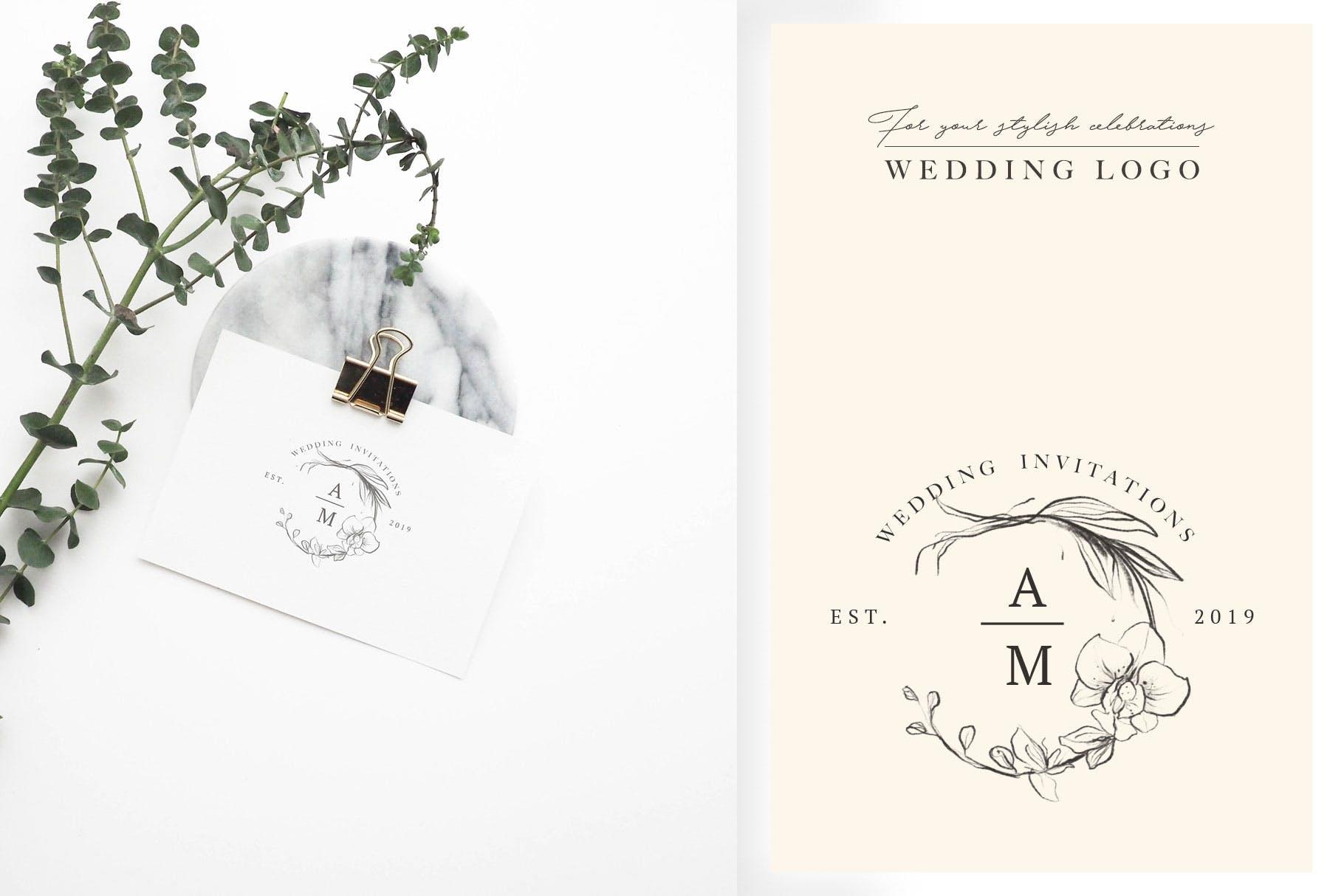 优秀的石墨仿铅笔图形组图案花纹素材Wedding Graphic Logo Pencil Flower插图(3)