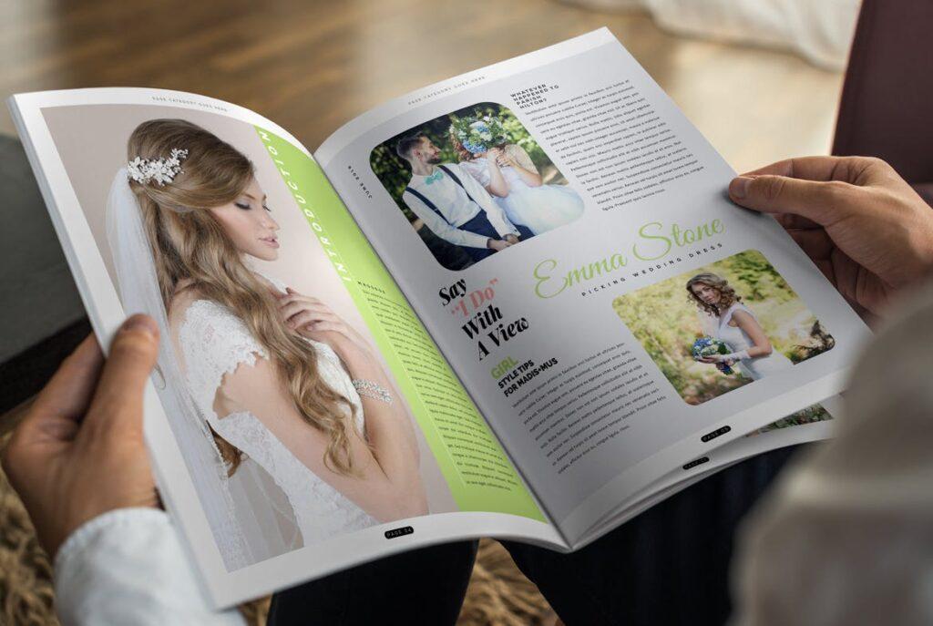 文艺精致版式环保主题婚礼杂志模板Wedding Magazine Template插图(3)