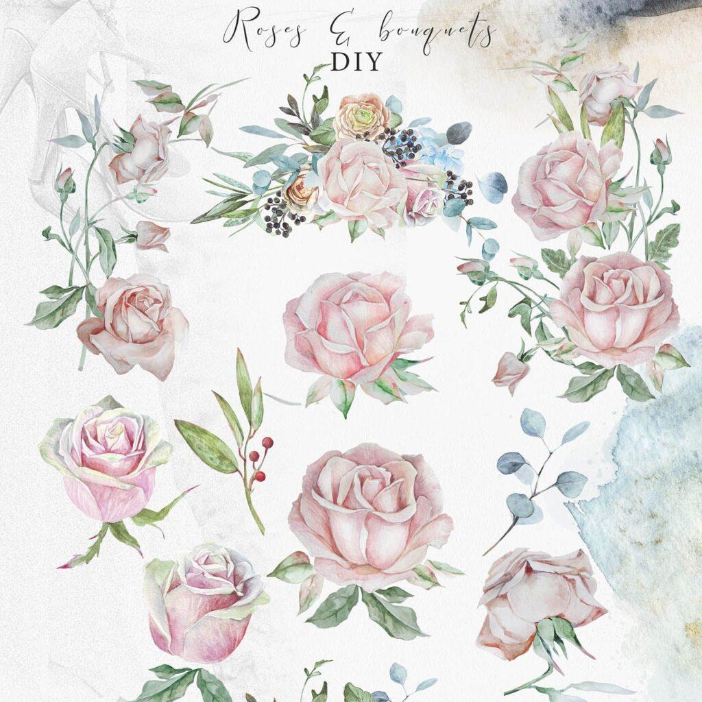 婚礼玫瑰花束创意图案合集邀请函相框装饰图案Wedding roses bouquets Artarian vol22插图(2)