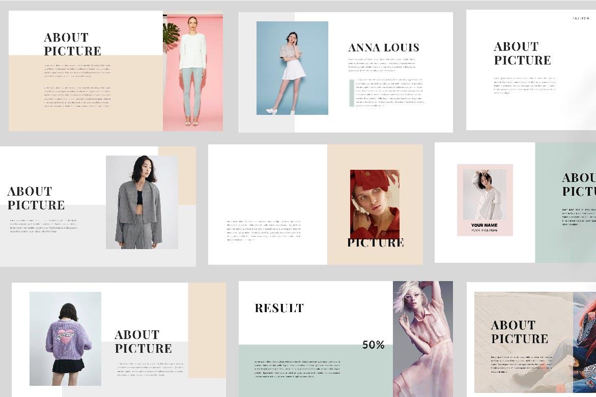 时尚潮流品牌新品展示PPT幻灯片模板lentitude Fashion Keynote插图(2)