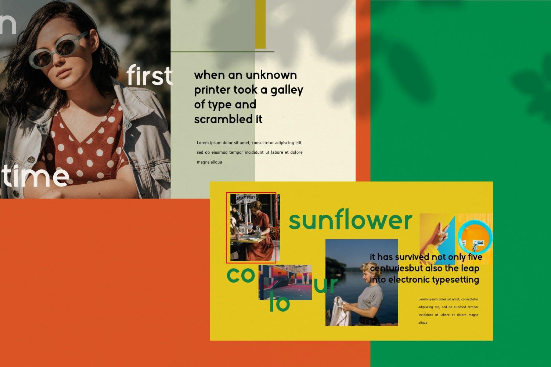 创意版式对比色风格多用途PPT幻灯片模板sunflowers keynote插图(3)
