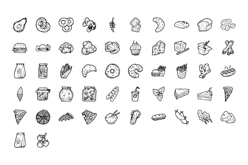 食物和圣诞手绘主题元素装饰图案212 Food and Christmas Handdrawn插图(4)