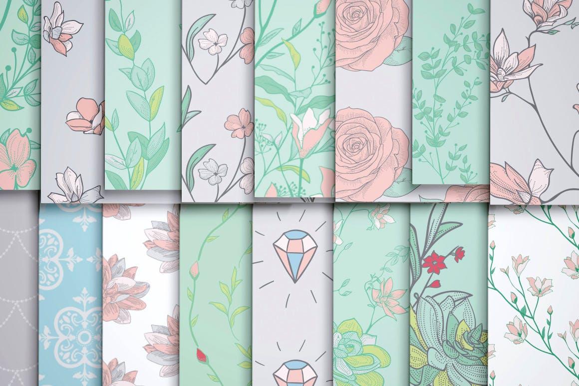 绿色植物与草药轮廓矢量图案31 Floral Patterns Pack插图(4)