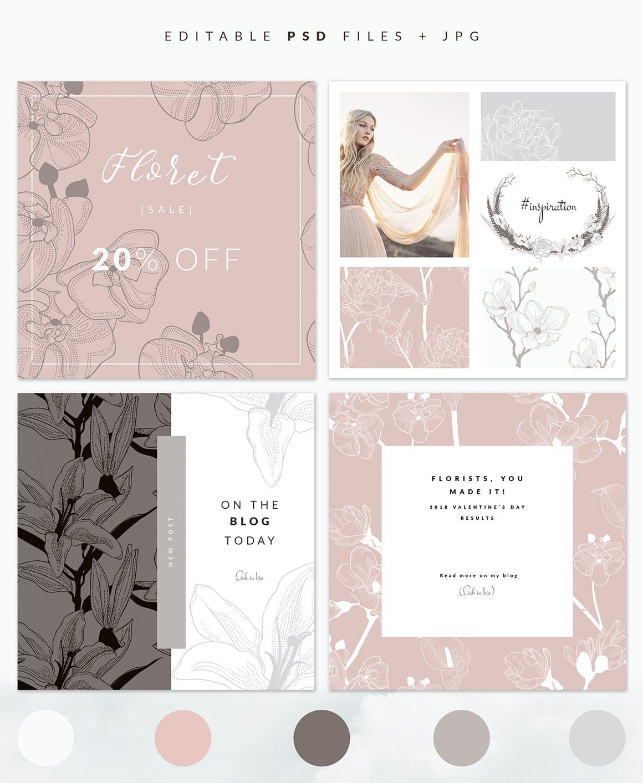 35个植物矢量图案装饰展示效果35 Patterns 8 Instagram Templates插图(3)