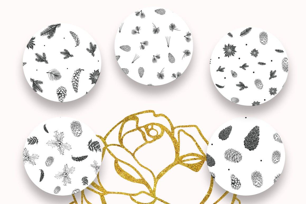 松树/刺柏/落叶创意图案装饰模板下载44 Winter patterns set插图(3)