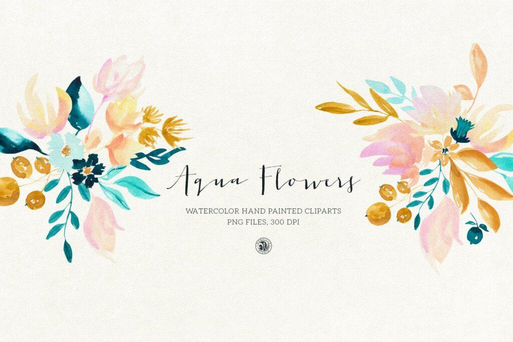 蓝色水彩花卉创意图案设计Blue floral design插图(5)