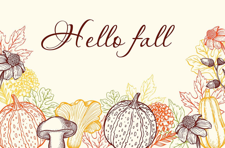 手绘矢量复古风格秋季设计元素装饰图案下载Autumn Colors Vintage Design Kit插图(4)