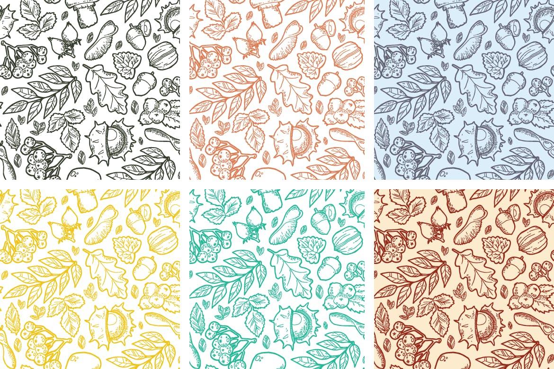复古植物野生矢量主题装饰图案花纹Autumn Handdraw Pattern插图(3)