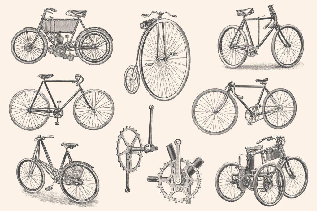 自行车和自行车配件的经典插图合Bicycles Vintage Illustration Set插图(4)