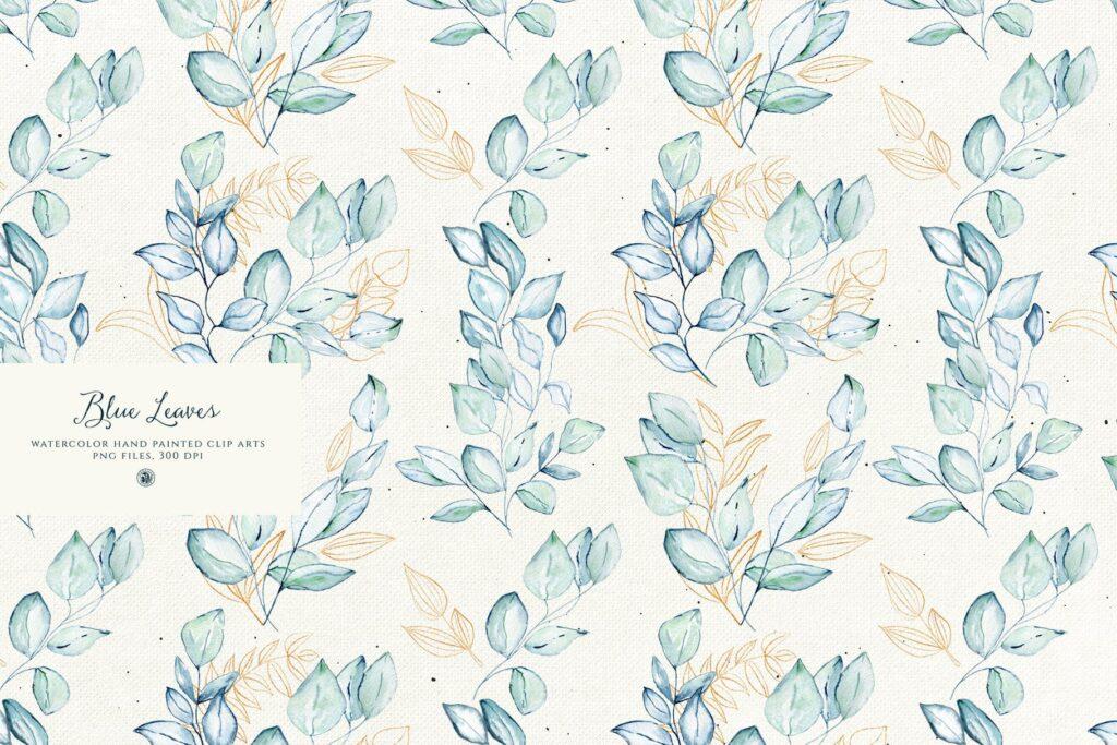 蓝色叶子手绘水彩装饰图案下载Blue Leaves with gold accent插图(3)