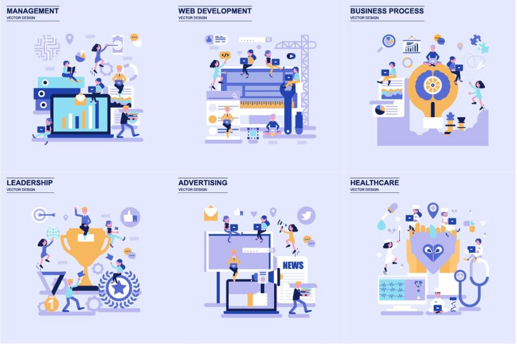 商务主题场景创意扁平化主题插画元素设计Business Flat Concepts插图(4)